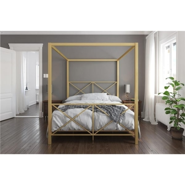 Avenue Green Rosemarie Goldtone Metal Canopy Bed. Opens flyout.
