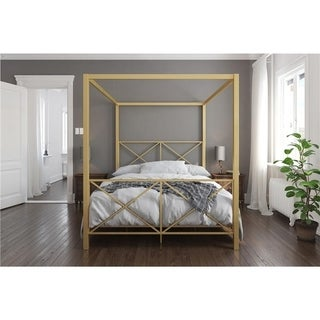 Shop Leann Graceful Scroll Iron Metal Canopy Poster Bed By