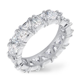 Precious Metal-Plated 6.44ctw Trillion Cut CZ Eternity Wedding Ring