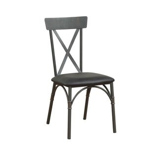 Metal Frame Side Chair with Leatherette Seat, Set of 2, Black and Gray