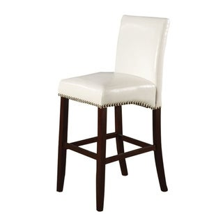 Wooden Counter Height Chair with Leatherette Upholstery, Set of 2, White and Brown