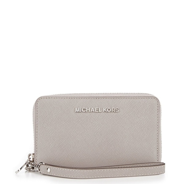 52405c5edd74a6 MICHAEL Michael Kors Jet Set Travel Large Flat Multifunction Phone Case Pearl  Grey