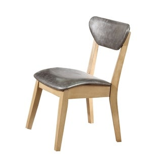 Modern Leatherette Upholstered Wooden Side Chair, Set of 2, Silver and Brown