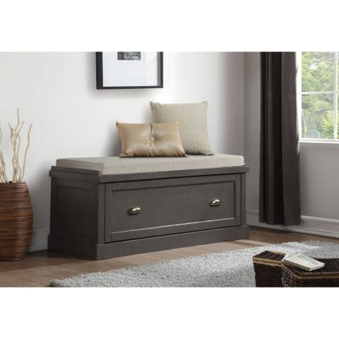 Wooden Bench with Fabric Upholstered Seat Cushion & Storage Drawer, Gray