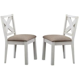Wooden Side Chair with Padded Seat and X-Style Back, Set of 2, Brown and White