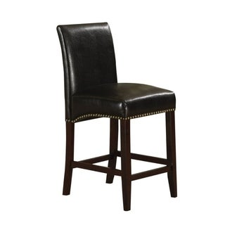 Wooden Counter Height Chair with Leatherette Upholstery, Set of 2, Black and Brown