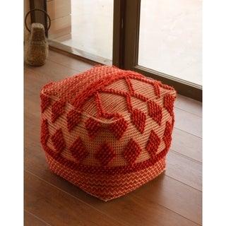 Cotton and Wool Upholstered Pouf Ottoman, Red