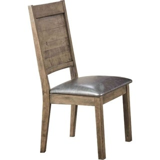 Leatherette Upholstered Wooden Side Chair, Set of 2, Silver and Rustic Oak Brown