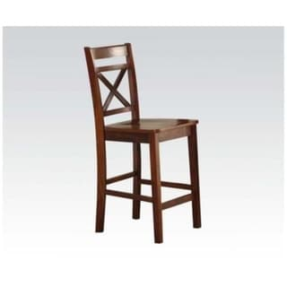 Wooden Counter Height Chair with Cross Back, Set of 2, Cherry Brown