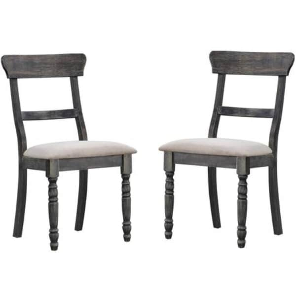 Prime Wooden Side Chair With Fabric Upholstered Seat Set Of 2 Gray Home Interior And Landscaping Oversignezvosmurscom