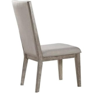 Transitional Style Wooden Side Chair with Fabric Upholstery, Set of 2, Gray Oak