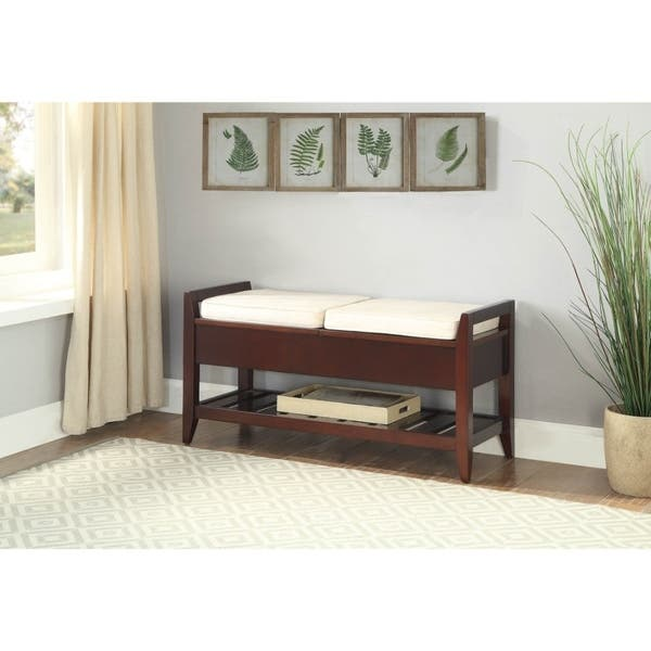 Wooden Bench With Fabric Upholstered Seat Cushions Storage