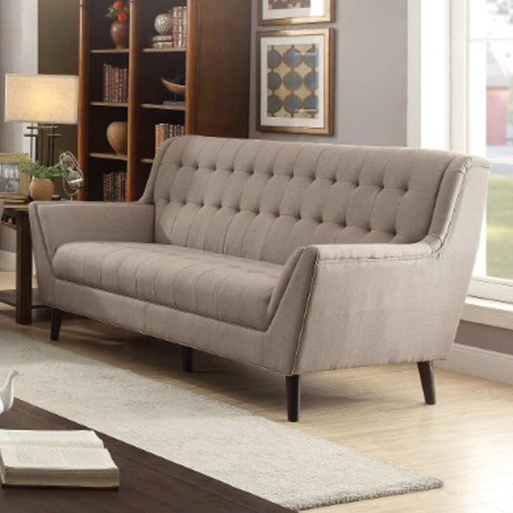 Contemporary Linen Upholstered Wooden Sofa with Tufting, Brown