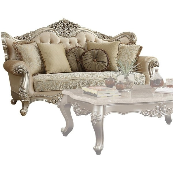 Pillows Traditional Sofa: Shop Traditional Style Wooden Sofa With 7 Pillows, Beige