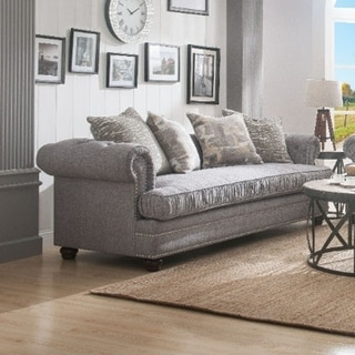 Nailhead Trim Fabric Upholstered Wooden Sofa with Four Pillows, Gray