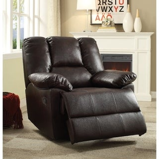Leather Aire Upholstered Metal Glider Recliner with Padded Armrest, Brown