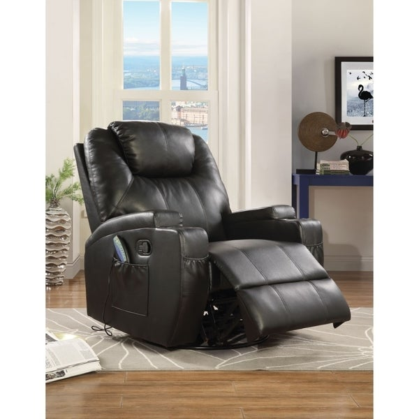 Contemporary Polyurethane Upholstered Metal Rocker Recliner with Swivel, Black