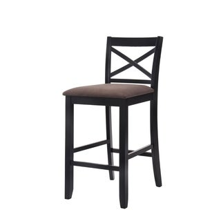 Wooden Bar Height Chair with Fabric Upholstered Seat, Black, Set of 2