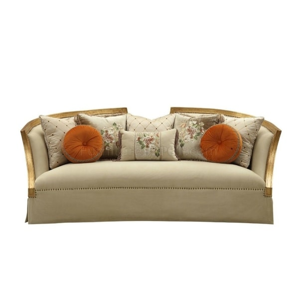 Pillows Traditional Sofa: Shop Traditional Style Wooden Sofa With 8 Pillows, Gold