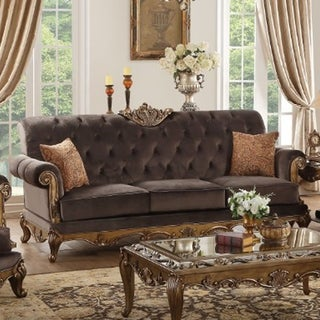 Fabric Upholstered Wooden Sofa with Two Pillows, Gray & Gold