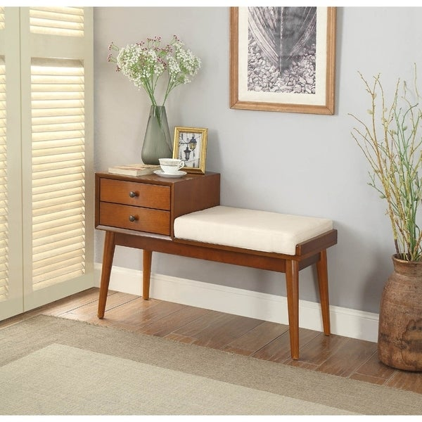 Wooden Bench With Fabric Upholstered Seat Cushion Storage E Honey Oak On Free Shipping Today 25681724