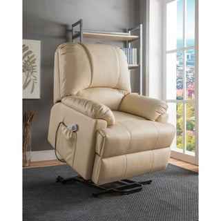 Contemporary Polyurethane Upholstered Metal Recliner with Power Lift, Beige