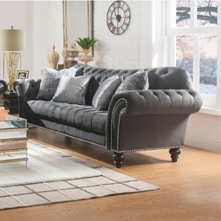 Button Tufted Fabric Upholstered Wooden Sofa with Four Pillows, Dark Gray