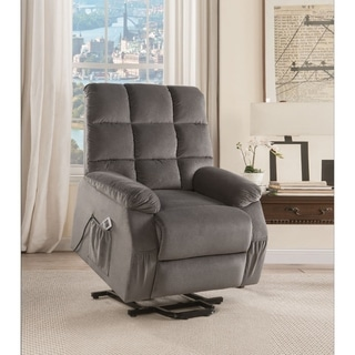 Contemporary Velvet and Metal Recliner with Power Lift, Gray