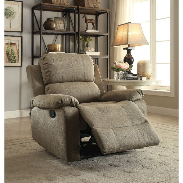 Contemporary Microfiber Upholstered Metal Recliner with Pillow Top, Brown