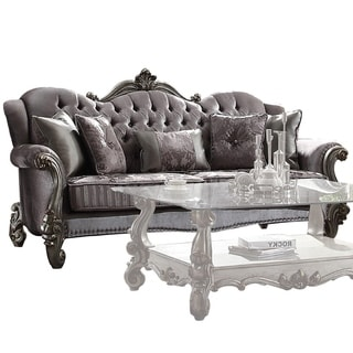 Transitional Velvet Upholstered Wooden Sofa with Five Pillows, Gray