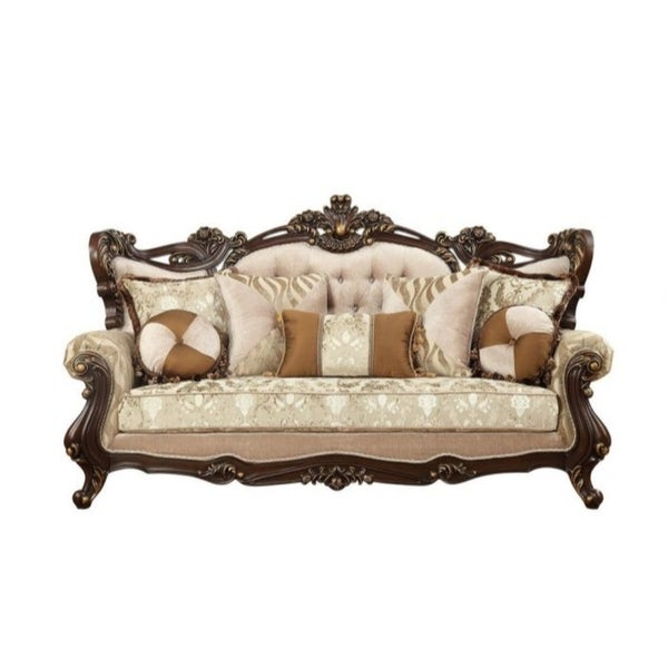 Pillows Traditional Sofa: Shop Traditional Style Wooden Sofa With 7 Pillows, Brown