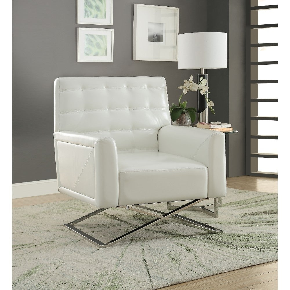 Terrific Polyurethane Upholstered Metal Accent Chair With Stationary Seat White And Silver Ibusinesslaw Wood Chair Design Ideas Ibusinesslaworg