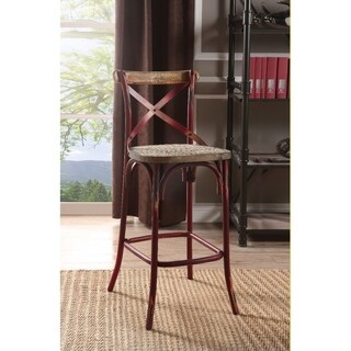 Wood & metal Bar Height Chair with X-Style Panel back, Antique Red