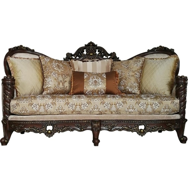 Pillows Traditional Sofa: Shop Traditional Style Wooden Sofa With 6 Pillows, Brown