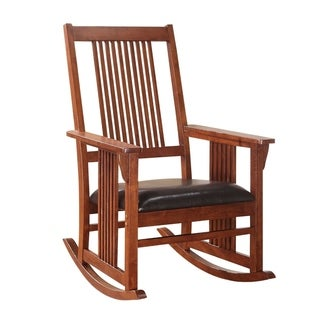 Traditional Style Wooden Rocking Chair with Slat Back, Brown