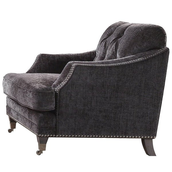 Wondrous Chenille Fabric Upholstery Chair With Caster Front Legs Gray Home Interior And Landscaping Ologienasavecom