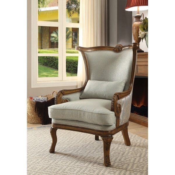 Shop Traditional Fabric Upholstered Wooden Accent Chair