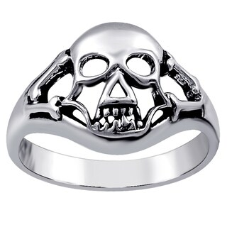 Sterling Oxidised Plain Silver Skull Ring For Women By Orchid Jewelry