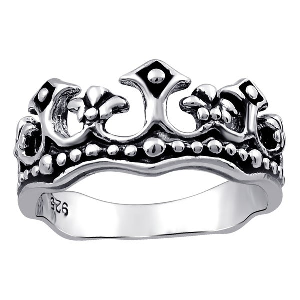 Filigree Cross Simple Plain Ring Solid Sterling Silver Oxidized Antique Finish