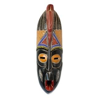 "Handmade Unfortunate Nigerian Wood Mask (Ghana) - 5"" x 17.75"""