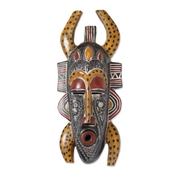 """Handmade Senufo Legacy African Wood Mask (Ghana) - 6"""" x 15"""""""
