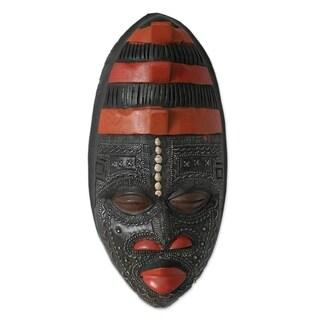 "Handmade Akan Blessing Ghanaian Wood Mask (Ghana) - 7"" x 15"""