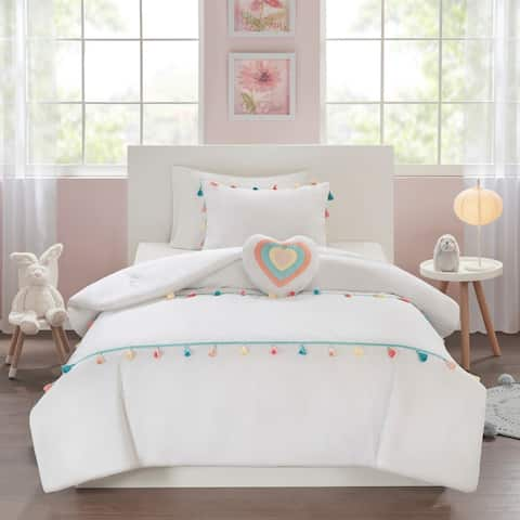 Mi Zone Kids Tanya White Tassel Comforter Set