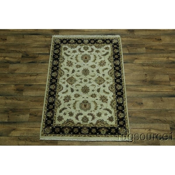 Shop Oushak Floral Tufted Wool Persian Oriental Area Rug: Shop Oushak Agra Oriental Hand Knotted Wool Floral Area
