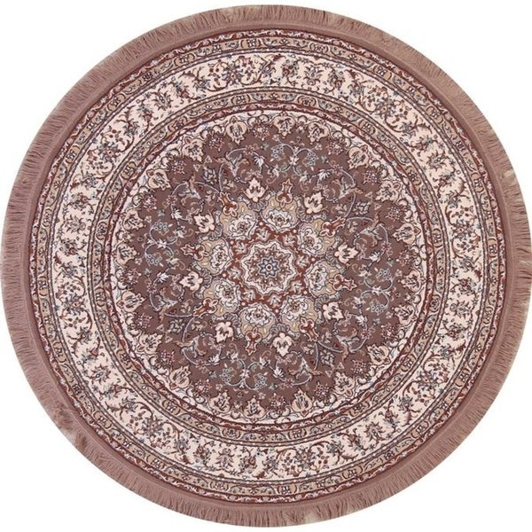 "Classical Soft Plush Floral Tabriz Oriental Persian Area Rug - 5'3"" x 5'4"" round"