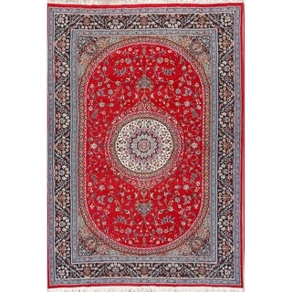 "Traditional Floral Classical Mashad Persian Medallion Area Rug - 11'4"" x 7'10"""