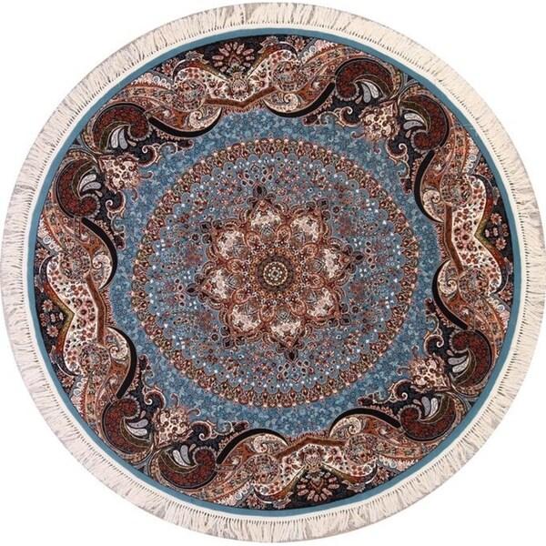 "Soft Light Blue Floral Tabriz Persian Oriental Area Rug Acrylic - 7'2"" round"