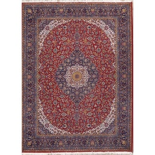 "Traditional Floral Kashan Persian Classical Medallion Area Rug - 13'1"" x 9'8"""