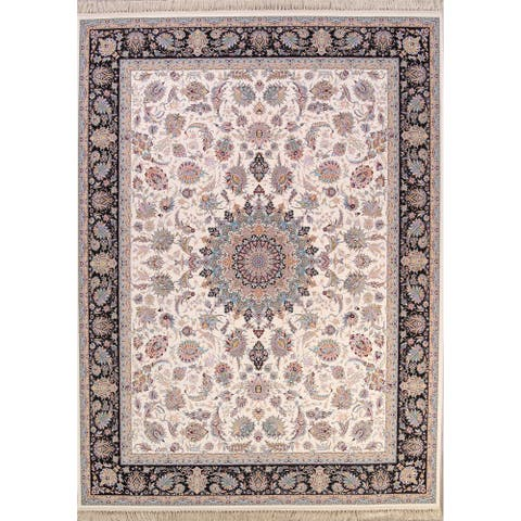 """Floral Ivory Traditional Tabriz Qum Persian Area Rug - 13'1"""" x 9'8"""""""