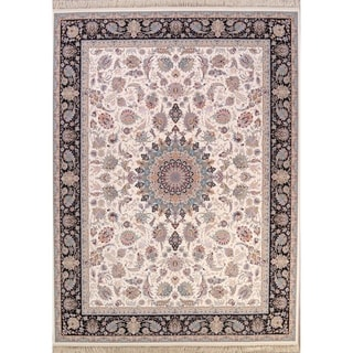 "Floral Ivory Traditional Tabriz Qum Persian Area Rug - 13'1"" x 9'8"""